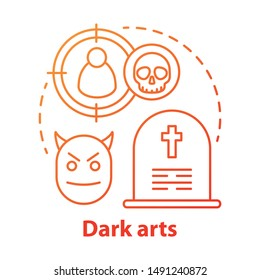 Dark arts concept icon. Occultism and witchcraft idea thin line illustration. Black magic, necromancy, diabolic curse. Gravestone, devil and target with skull vector isolated outline drawing