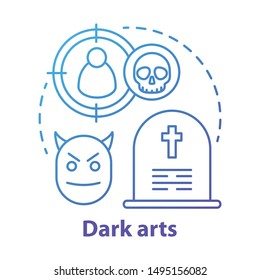 Dark arts concept icon. Occultism and witchcraft idea thin line illustration. Black magic, necromancy, sinister curse. Gravestone, devil and target with skull vector isolated outline drawing