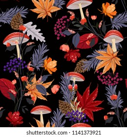Dark Autumn night garden seamless pattern with hand drawn leaf,mushroom,flowers,pine nuts, oak in the forest ,Colorful motives vector for fashion fabric and all prints on black