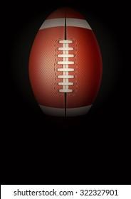 Dark Background american football sports. Symbol of ball. Realistic Vector Illustration.