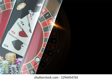 Dark background banner with casino elements chips, playing cards, roulette. Poker game concept