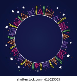 Dark background with colorful flags, colorful confetti and Stars drawing around a circle with space to place text. To use on birthday cards and general parties