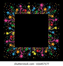 Dark background with confetti and colorful stars around a white space for text. Ideal for party and birthday cards