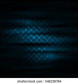 Dark background with connecting lines and geometric shapes