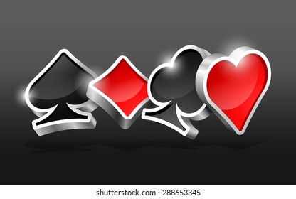 Dark background with glossy 3D cards suits