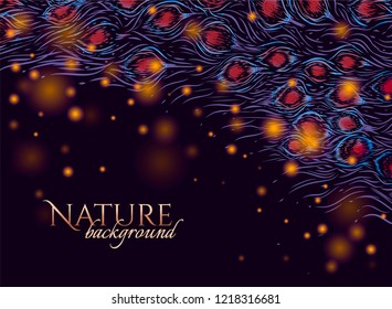 Dark background with hand drawn nature pattern. Tail of peacock and lights. To be used for invitation card, wedding card.
