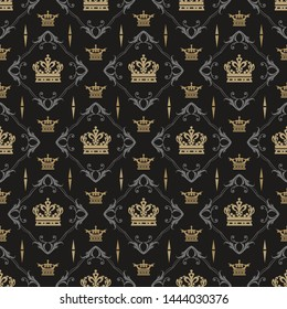 Dark background pattern. Background image in royal style. Seamless pattern, wallpaper texture. Vector image, vintage