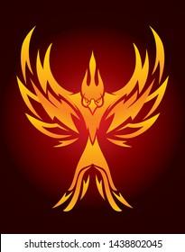 Dark Background Phoenix Bird Symbol