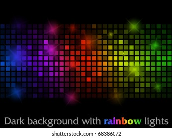 Dark background with rainbow lights