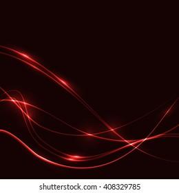 Dark background with red laser shine glow neon waves