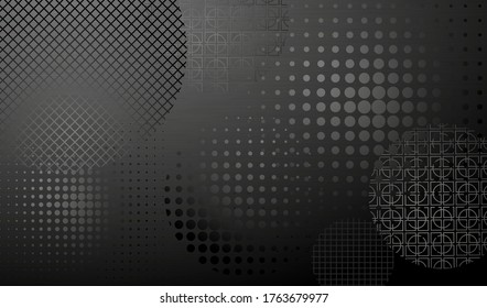 Dark background with round decorated shapes. Layered background. Vector EPS10