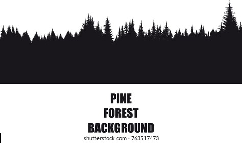 dark background silhouette of a pine forest isolated on a white background