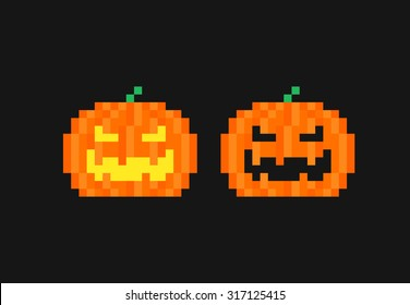 Dark background with two pixel art pumpkins