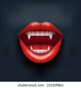 Dark Background of vampire mouth with open red lips and long teeth. Vector Illustration. Isolated on white background.
