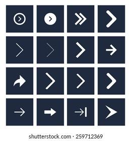 dark background white next arrow icon previous collection. simple pictogram minimal, flat, solid, mono, monochrome, plain, contemporary style. Vector illustration web internet design elements