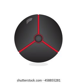 Dark ball icon. Vector pokeball isolated on white background