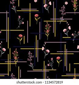 Dark Beautiful and gentle Seamless pattern delicate meadow many kind of  flowers vector with check or grid check for fashion ,wallpaper ,book ETC on black background