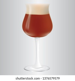 Dark beer in a glass with a high stem.