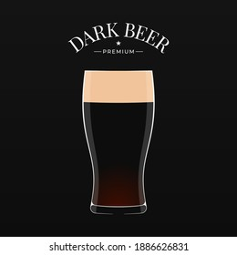 Dark beer logo. Glass of beer on black background