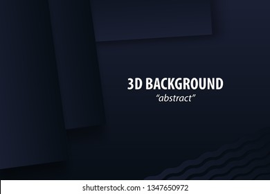 Dark black abstract geometric background 3d paper cut design in layers. Golden color halftone slice texture. Material elegant business presentation.