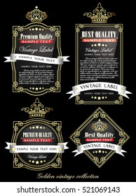 dark black collection of vintage alcohol wine labels