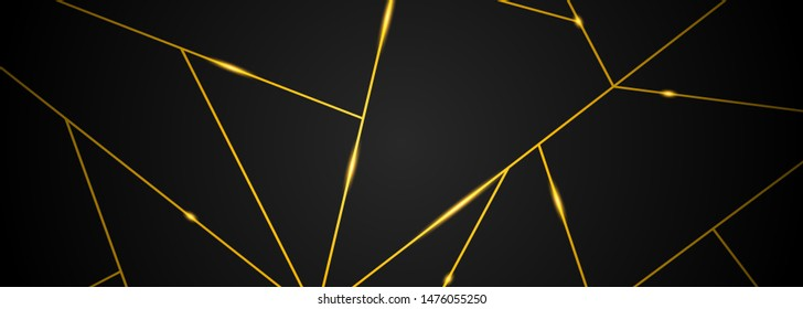 Dark black and Gold mosaic background. Modern dark abstract vector texture