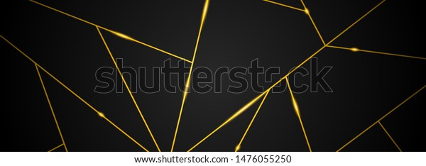 Dark black and Gold mosaic background. Modern dark abstract vector texture