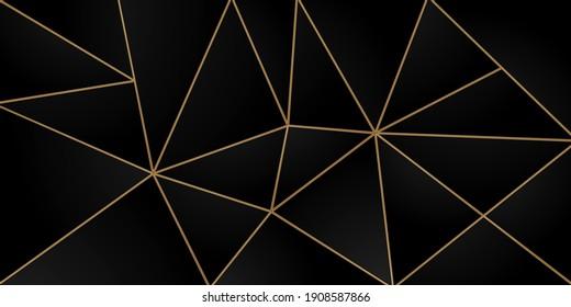 Dark black mosaic background with golden lines Modern dark luxury style vector texture