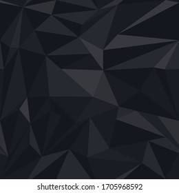 Dark black triangles shape, seamless pattern. Abstract haotic background.