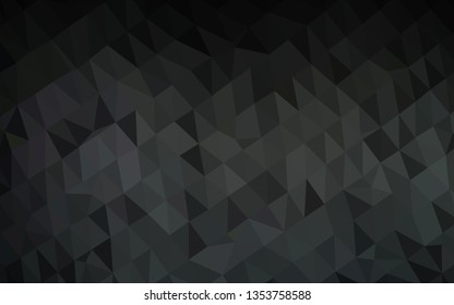 Dark Black vector abstract mosaic pattern. Triangular geometric sample with gradient.  New texture for your design.
