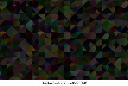 Dark Black vector banner with circles, spheres. Abstract spots. Background of Art bubbles in halftone style with colored gradient.