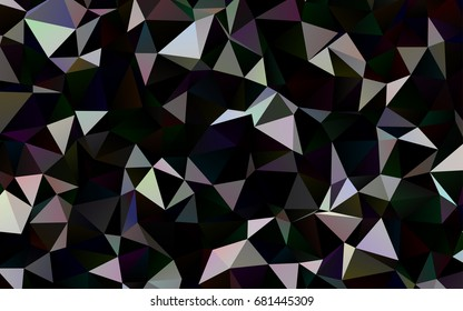 Dark Black vector blurry triangle pattern. Triangular geometric sample with gradient.  A new texture for your design.