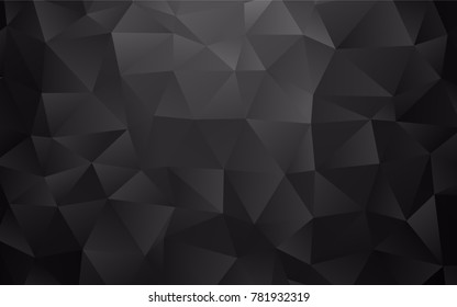 Dark Black vector low poly template. An elegant bright illustration with gradient. The elegant pattern can be used as part of a brand book.