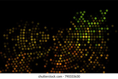 Dark Black vector modern geometrical circle abstract background. Dotted texture template. Geometric pattern in halftone style with gradient.