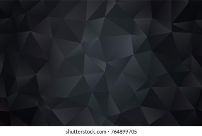 Dark Black vector polygonal pattern. A vague abstract illustration with gradient. The textured pattern can be used for background.