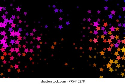 Dark Black vector template with sky stars. Glitter abstract illustration with colored stars. Smart design for your business advert.