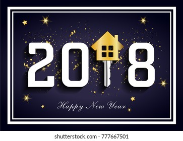 Dark blue 2018 for real estate, 2018 new happy year