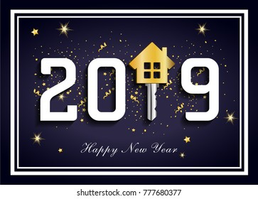 Dark blue 2019 for real estate, 2019new happy year