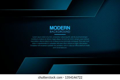 Dark blue abstract background. Realistic blue overlap layer on textured background decoration. Modern backdrop. Can use for web and print.