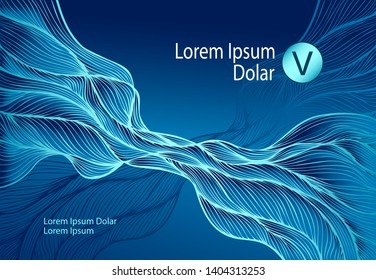 Dark Blue Abstract Background or template flyer banner or visit card with Wave or Smoke or folds or fractal