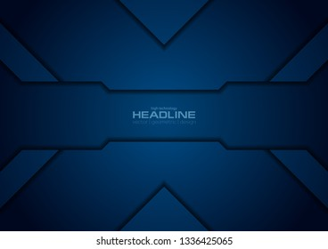 Dark blue abstract corporate tech concept background. Vector design