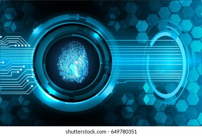 dark blue Abstract digital conceptual technology security background with lock. computer website internet. infographics. Hand print. finger