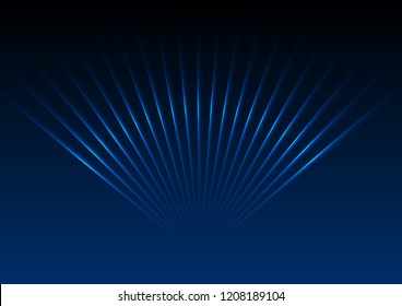 Dark blue abstract glowing neon laser rays background. Vector design