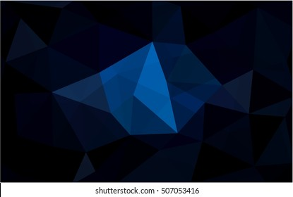 Dark blue abstract mosaic template. Triangular geometric sample with gradient. The completely new template can be used for your brand book.