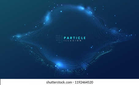 Dark blue abstract particle dynamic background, can be used for cyberspace, futuristic, technology and science project. Vector illustration