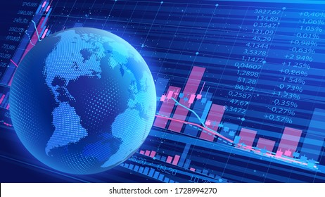 Dark blue abstract vector background. World economic crisis. Oil product prices. Planet Earth on the background of a scoreboard with indicators of trade indices on the stock exchanges. Halftone effect