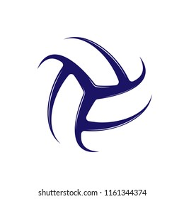 Dark blue abstract volleyball symbol isolated on white background