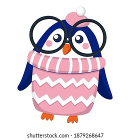 Dark blue baby girl penguin wearing pink and white hat and sweater. Black glasses. Orange beak and feet. Cartoon style. Cute and funny. Merry Christmas. Happy New Year. Stickers, post cards, posters
