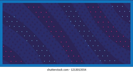 Dark blue background, bright striped ball with red dots, vector illustration