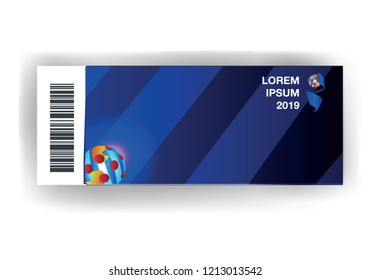 Dark blue background, event ticket, bright striped ball with red dots, vector illustration